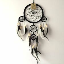 NEW BLACK AND WHITE FEATHER DREAM CATCHER NATIVE AMERICAN HANGING MOBILE 648