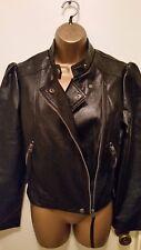 womens black faux leather biker style jacket-size small