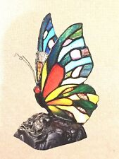 Quoizel Tiffany Lamp Butterfly Stained Glass Lampshade  Colorful .