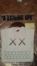 Rare!!! A BATHING APE KAWS Shirt White Size Medium Medicom Toy Bape supreme