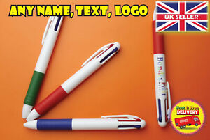 Personalised Plastic ballpoint pen with any logo text name gift 3 colours