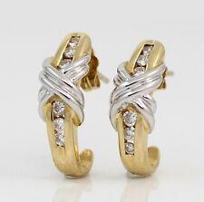 Solid 14K Yellow White Gold Diamond J Hoop X Earrings LQ2-G