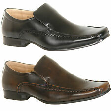 Mens New Black / Brown Slip On Square Toe Formal Shoes Size 6 7 8 9 10 11 12
