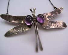 COLLIER LIBELLULE ARGENT 1960 1970  AMÉTHYSTE NECKLACE DRAGON FLY COLLAR SILVER