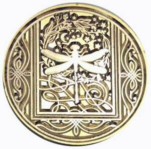 """Dragonfly Deluxe Wax Seal Stamp, 1.2"""" diameter seal with wood handle"""
