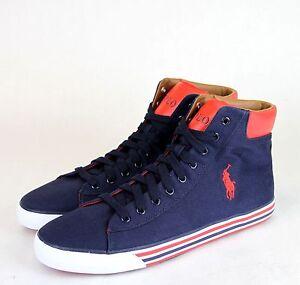 New Authentic Polo Ralph Lauren Harvey Canvas High Top Sneaker w/Logo