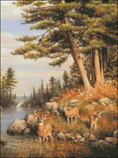 Needlework Crafts Full Embroidery Counted Cross Stitch Kits 14ct Deer and Pines