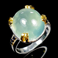 Handmade14ct+ Natural Prehnite 925 Sterling Silver Ring Size 9/R120470