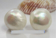 Huge AAA 15-16mm natural South Sea White Baroque Pearl Earrings 14K YELLOW GOLD
