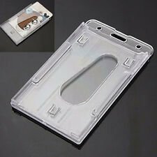 2Pc Clear Vertical Hard Plastic ID Badge Holder Double Name Card Holder
