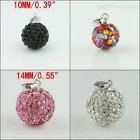 True Czech Crystal Round Disco Ball 925 Sterling Silver Bead Pendant 10mm 14mm