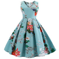 Retro Women Dress Rockabilly Floral 50s Swing Pinup Vintage Party Plus Size