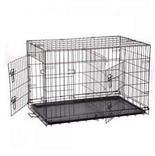 """48"""" Extra Large Dog Kennel Crate Pet Cage 2 Doors Metal Tray Pan - FREE Divider"""