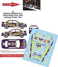 DECALS 1/24 REF 22 SUBARU IMPREZA WRX POSTEL RALLYE MONTE CARLO 1996 RALLY WRC