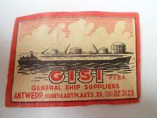 Etiquette allumette - GISI - GENERAL SHIP SUPPLIERS - ANTWERP - Belgium - (47)