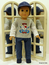 """5pc ROCK STAR 18"""" AMERICAN GIRL """"BOY"""" DOLL Clothes BLUE JEANS TOP SHOES SOX CAP"""