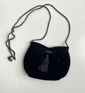 Velour Formal Evening Crystal Beads Tassel Braided Shoulder Strap Mini Purse