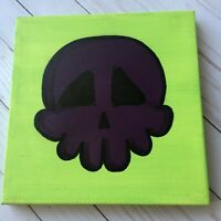Skull Painting Purple & Lime Green Square Unframed Oil Canvas Goth Wall Art