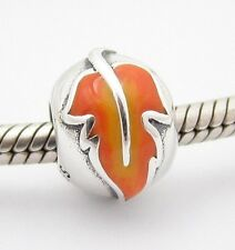 AUTUMN FALL LEAVES CHARM Bead Sterling Silver.925 4 European Bracelet 576