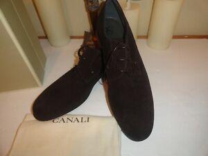 $550 nib hand made in italy CANALI black suede oxford eu 43 us 10m