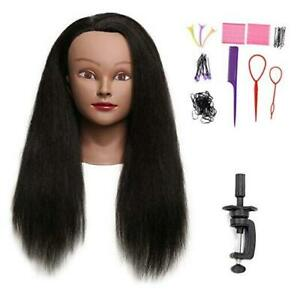 """100% Real Hair Mannequin Head with stand Hairdresser Cosmetology Mannequin 18"""""""