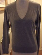 Woman's Long Sleeve Grey V Neck Sweater / Jumper UK14. 7% Cashmere