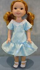 14 Inch Doll Clothes - Blue with Diamonds Dress handmade by Jane Ellen