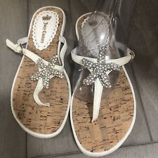 Juicy Couture White Flip Flops Sandals Size 6 (208)