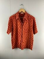 Fabindia Mens Burgundy Vintage Short Sleeve Collared Button Up Shirt Size 40