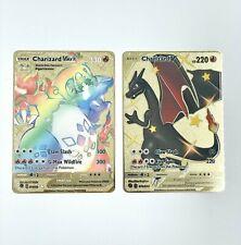 2x Pokemon Charizard V 79 Secret Rare Full Art Gold Metal Card VMax 74/73