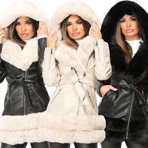 Womens PU Pvc Winter Long Coat Faux Vegan Leather Fur Hooded Warm Belted Jacket