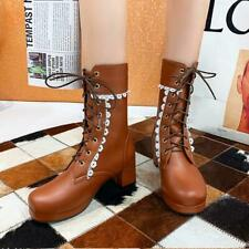 Women's Lolita Round Toes Lace Up Cosplay PU Ankle Boots Shoes Plus Size