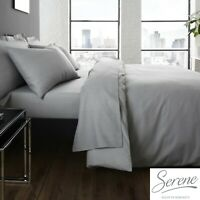 Serene Easy Care Grey Bedding Set Duvet Cover, Pillowcases, Fitted & Flat Sheets