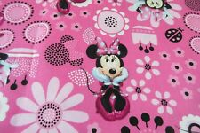 Minnie Mouse Flowers Pink Disney 100% Cotton Fabric 1/2 Yard