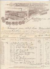 Magdeburg alte Rechnung Schokoladen-Fabrik Müller und Hamel 1905 Litho
