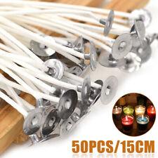 50pcs bougie mèches de coton noyau pré ciré avec des souteneurs pour bou 15cm
