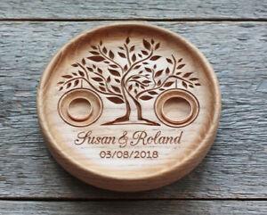 Wedding ring pillow alternative, wood Wedding ring bearer holder dish box.