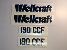 wellcraft 190 CCF decals black with blue drop shadow 4 decal set