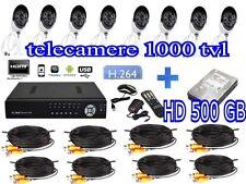 KIT VIDEOSORVEGLIANZA DVR 8 TELECAMERE 1000TVL HD 500GB