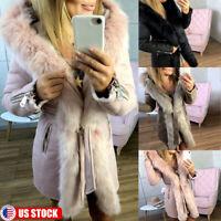 Womens Fur Hooded Warm Winter Coat Hood Parka Overcoat Long Jacket Outwear US