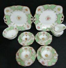 More details for  antique coalport y4048 batwing green 12 piece tea set for four people