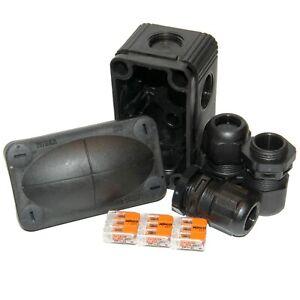 Wiska 206 Small Weatherproof Outdoor Combi Box Black c/w Wago + Glands - S206