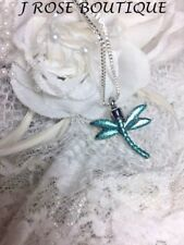 TEAL DRAGONFLY ANY COLOR STAINLESS Cremation URN W/FUNNEL Necklace Ash JEWELRY