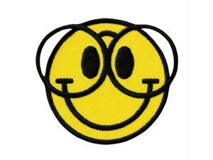 gelb Aufnäher // Bügelbild Smiley Marijuana Weed Ø7,5 cm