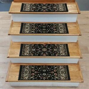 "Black Stair Tread Set of 7 Traditional Non Slip Carpet Treads 26""x9"" Rug Depot"