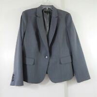 TALBOTS jacket blazer modern career one button textured stretch wool gray 16