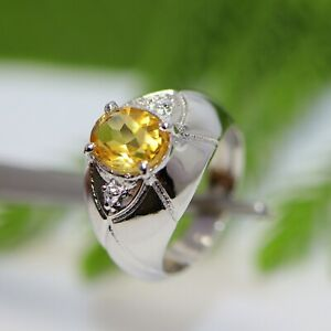 925 Silver Ring 9x7 MM Natural Faceted Yellow Citrine Oval Birthstone November