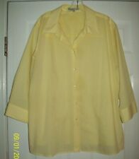 Foxcroft WRINKLE FREE Shaped Fit BUTTON DOWN Size 24W 3/4 Sleeve YELLOW Chest 58