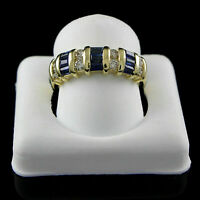 1.25Ct Blue Sapphire & Diamond Engagement Wedding Band Ring 14K Yellow Gold Over