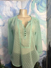 Bila S New Green Sheer Textured Split Button Neck 3/4 Sleeve Step Hem Tunic Top